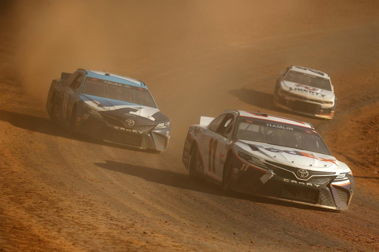 Denny Hamlin and Martin Truex Jr - Bristol Dirt Track - NASCAR Cup Series