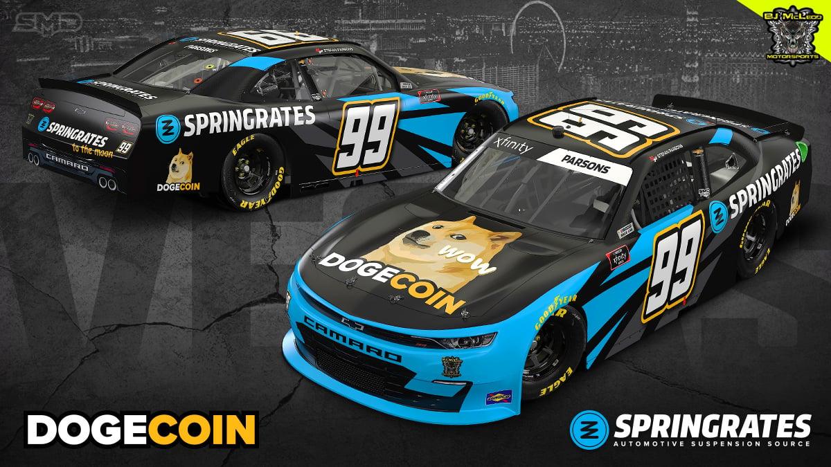 Dogecoin NASCAR race car - Stefan Parsons