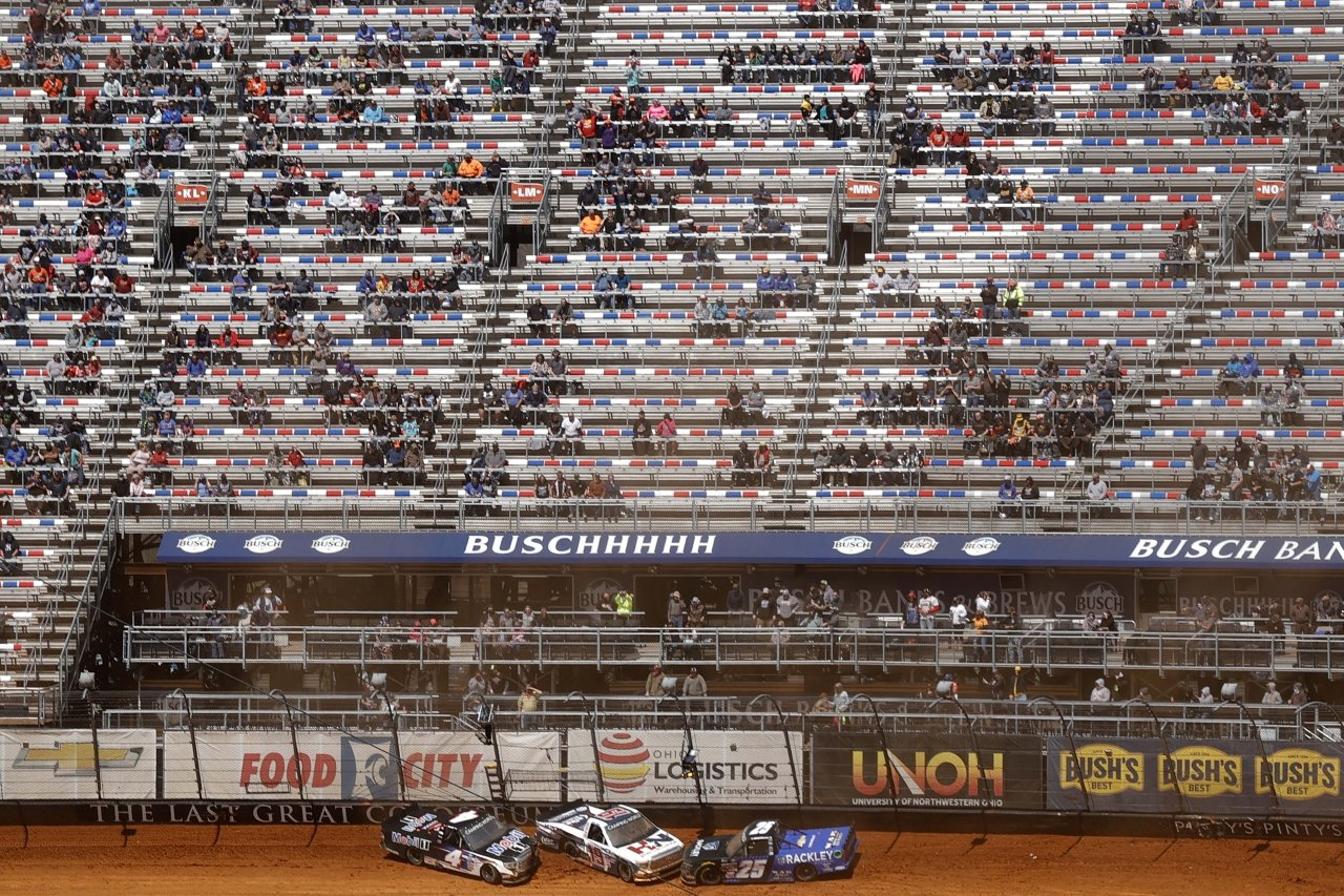 John Hunter Nemechek crashes - Bristol Motor Speedway dirt track - NASCAR Truck Series