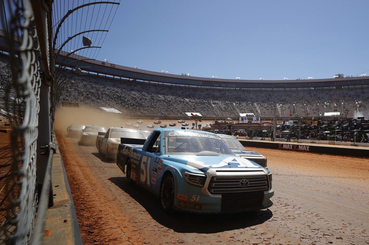Martin Truex Jr leads - Bristol Motor Speedway dirt track - NASCAR Truck Series