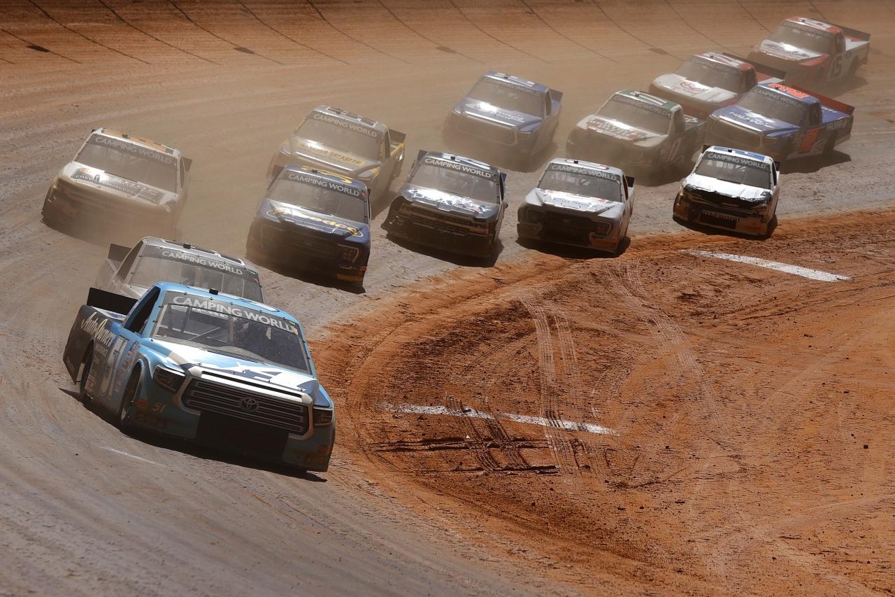 Martin Truex Jr leads at - Bristol Motor Speedway dirt track - NASCAR Truck Series