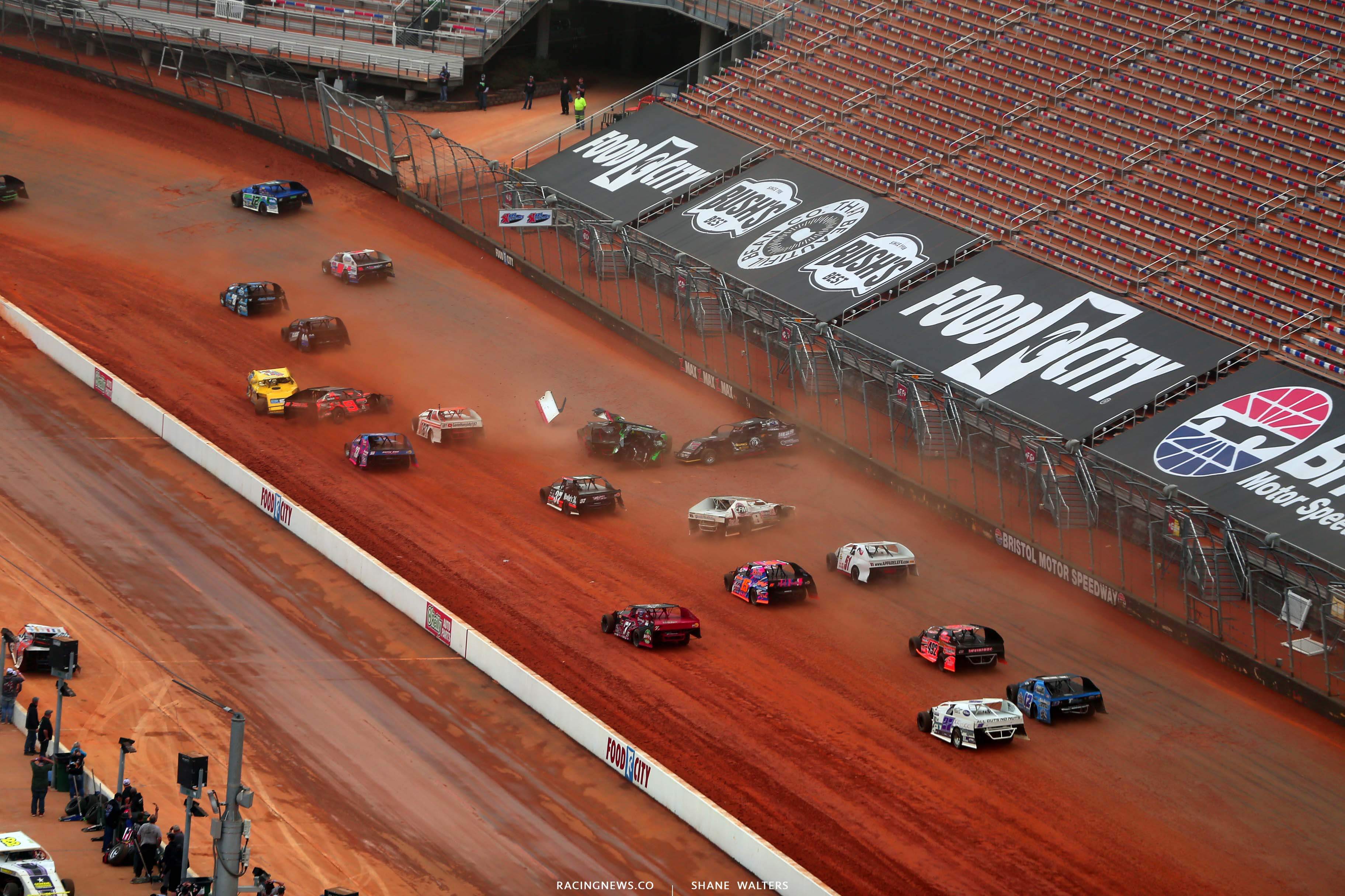 O - Dirt modified crash at Bristol Motor Speedway dirt track