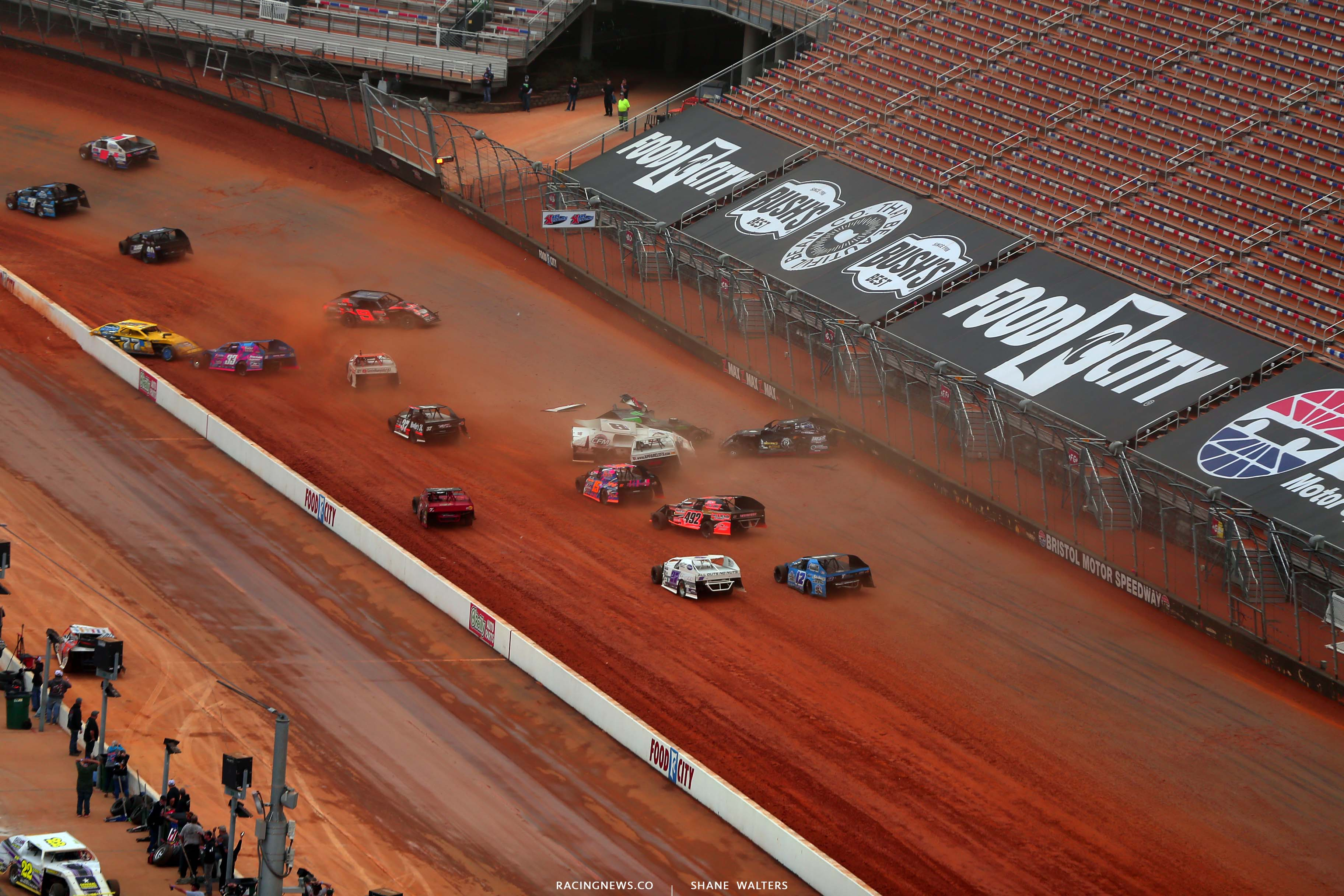 R - Dirt modified crash at Bristol Motor Speedway dirt track