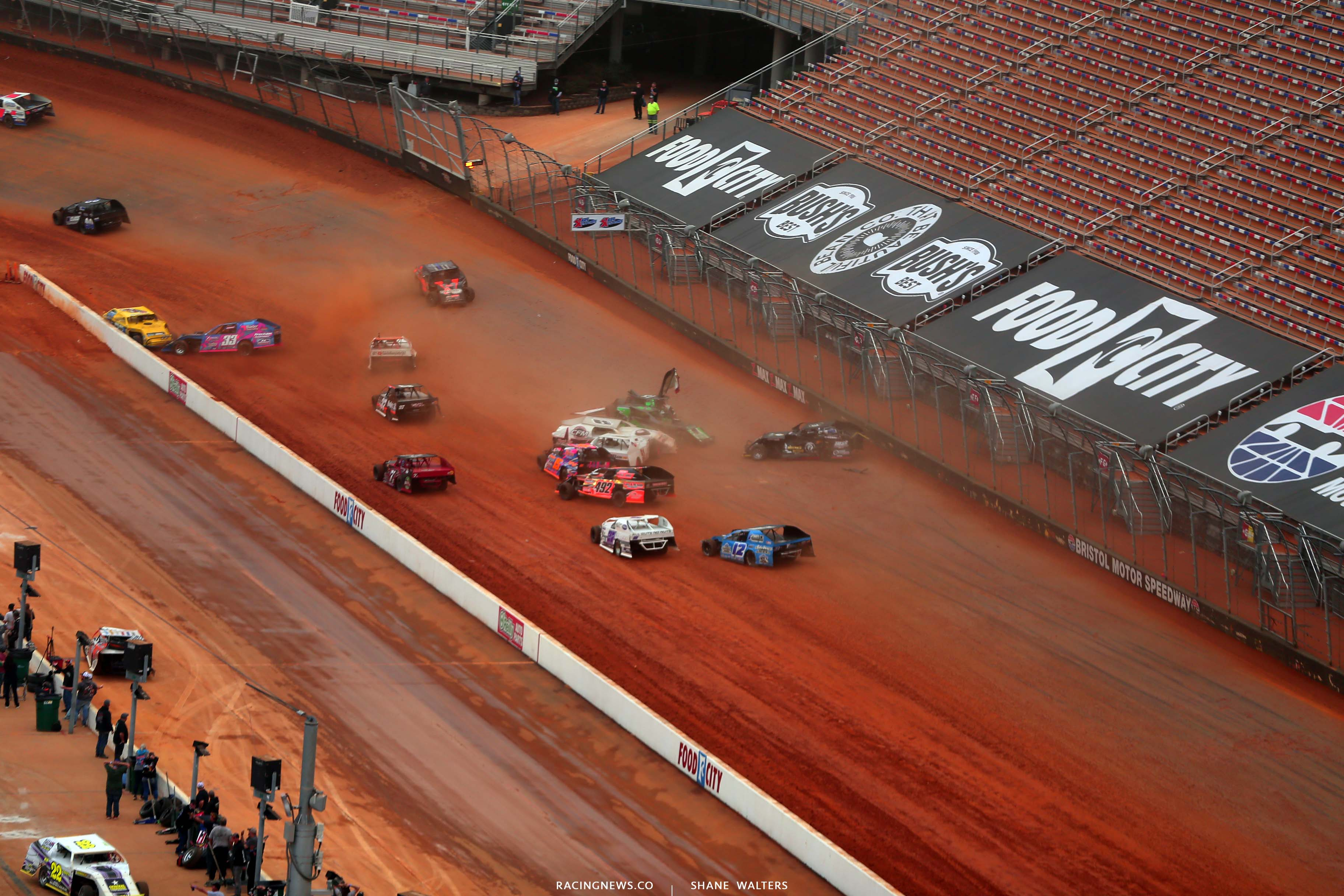 S - Dirt modified crash at Bristol Motor Speedway dirt track