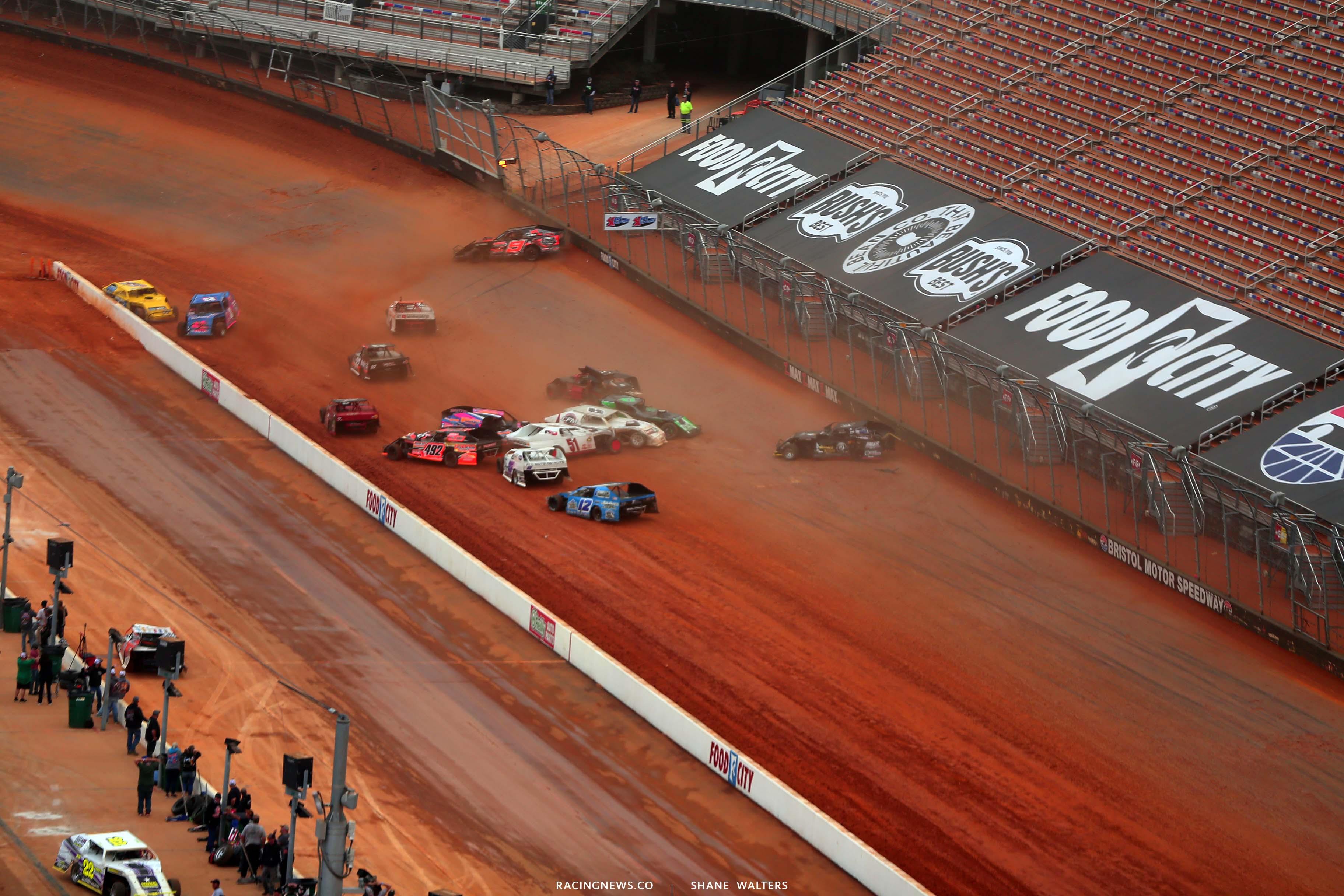 T - Dirt modified crash at Bristol Motor Speedway dirt track