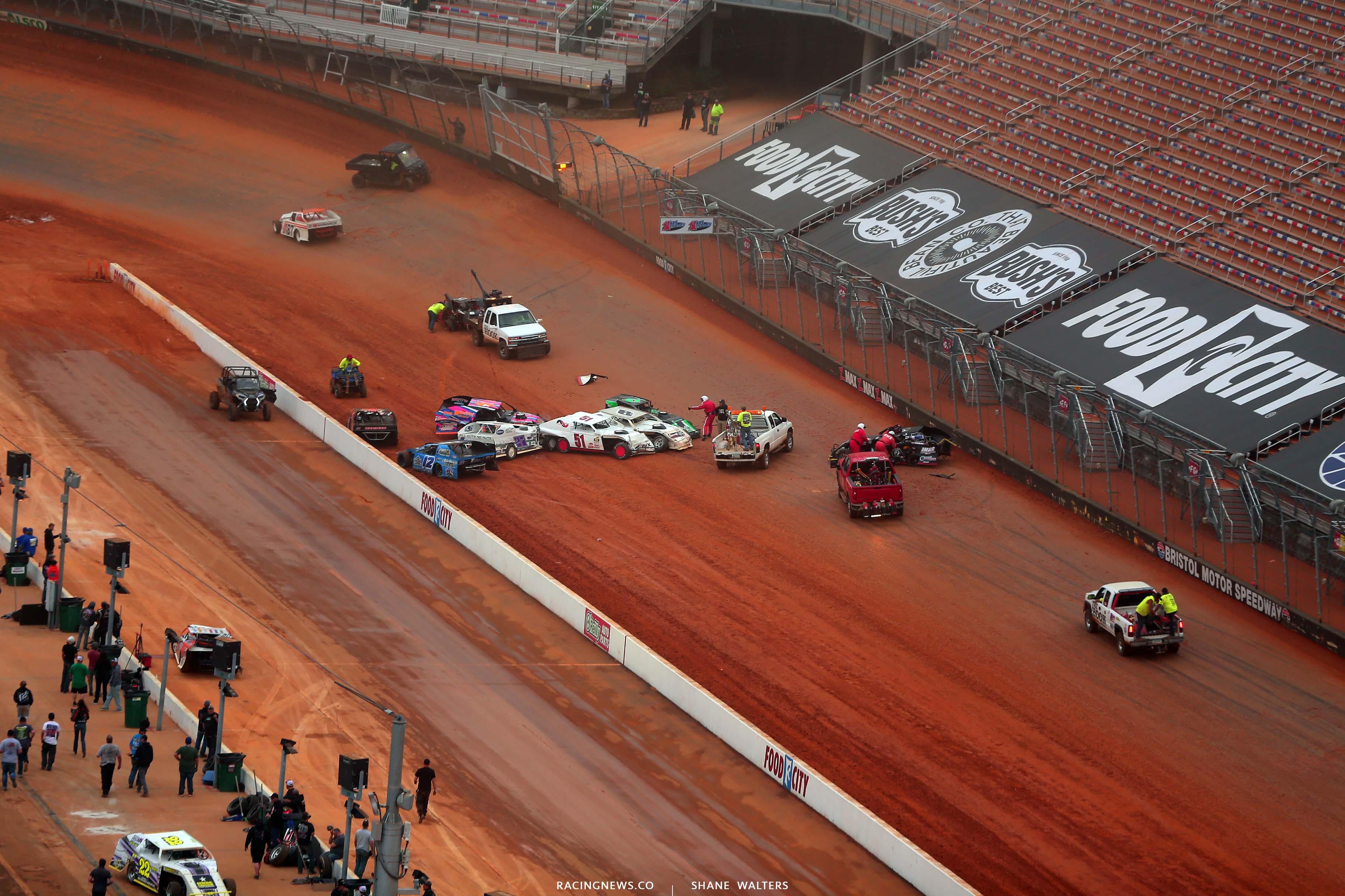 U - Dirt modified crash at Bristol Motor Speedway dirt track