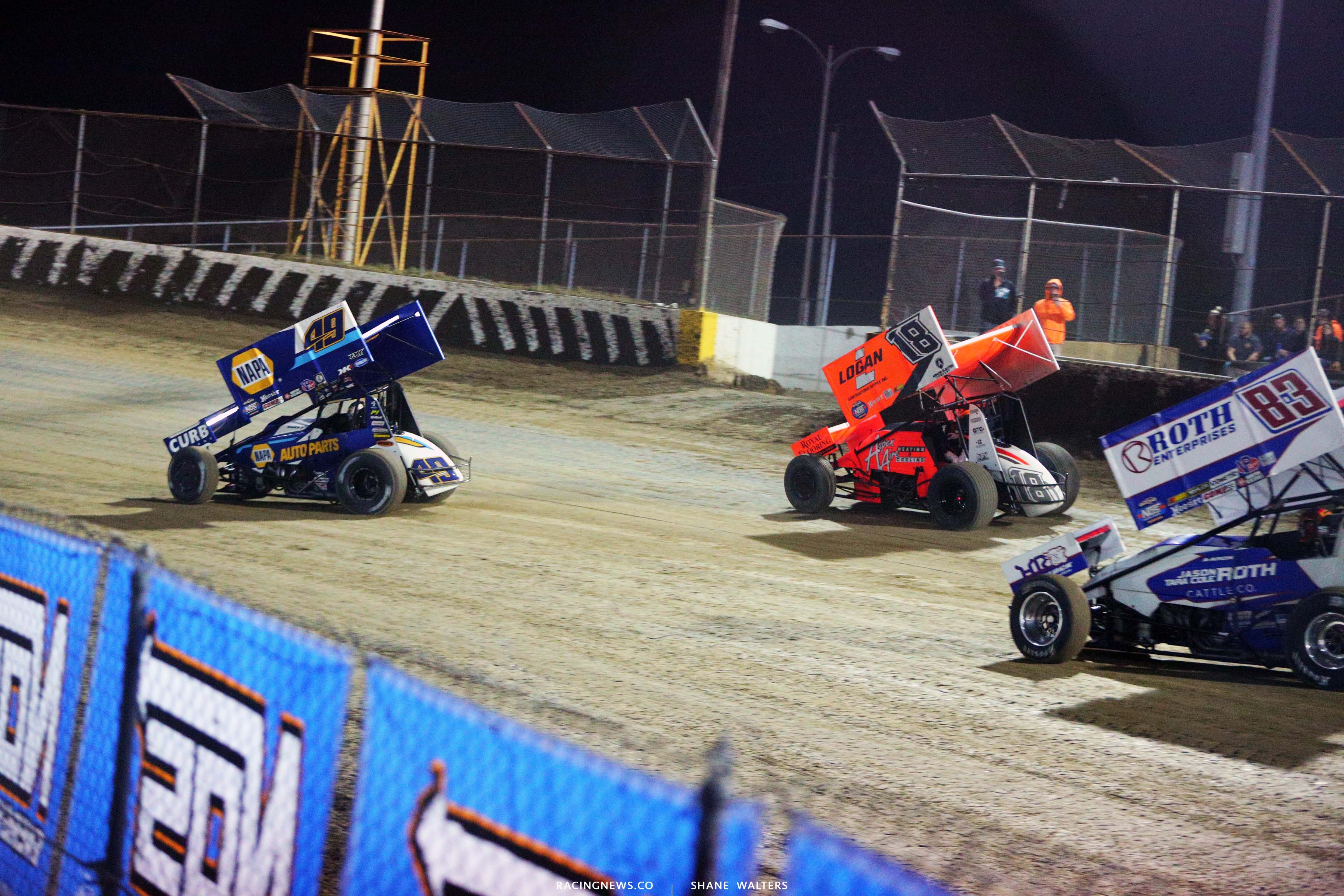 Brad Sweet and Giovanni Scelzi at I-55 Raceway - World of Outlaws Sprint Car Series 3370
