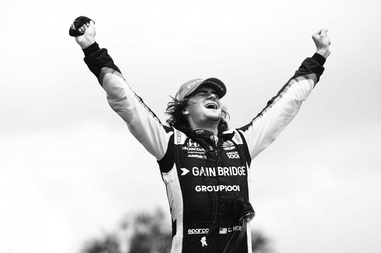 Colton Herta in victory lane in the St Petersburg Grand Prix - Indycar Series