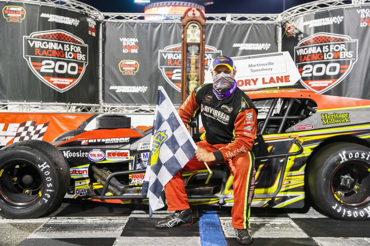 Eric Goodale in victory lane at Martinsvile Speedway - NASCAR Whelen Modified Tour