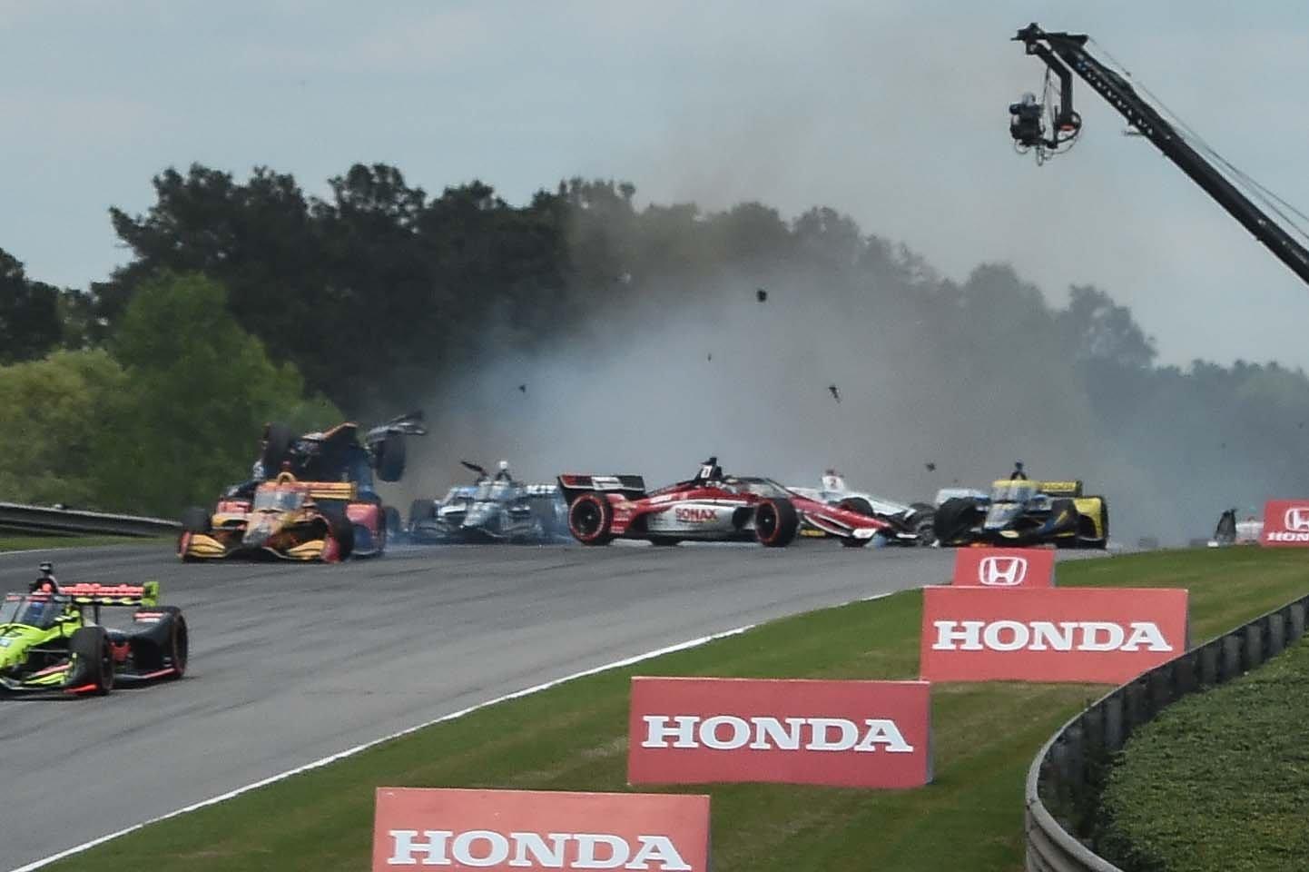 Indycar crash at Barber Motorsports Park