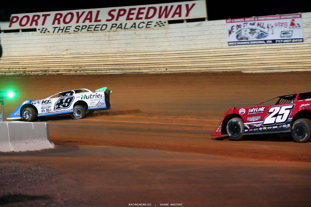 Jonathan Davenport leads at Port Royal Speedway - Lucas Oil Late Model Dirt Series 4911