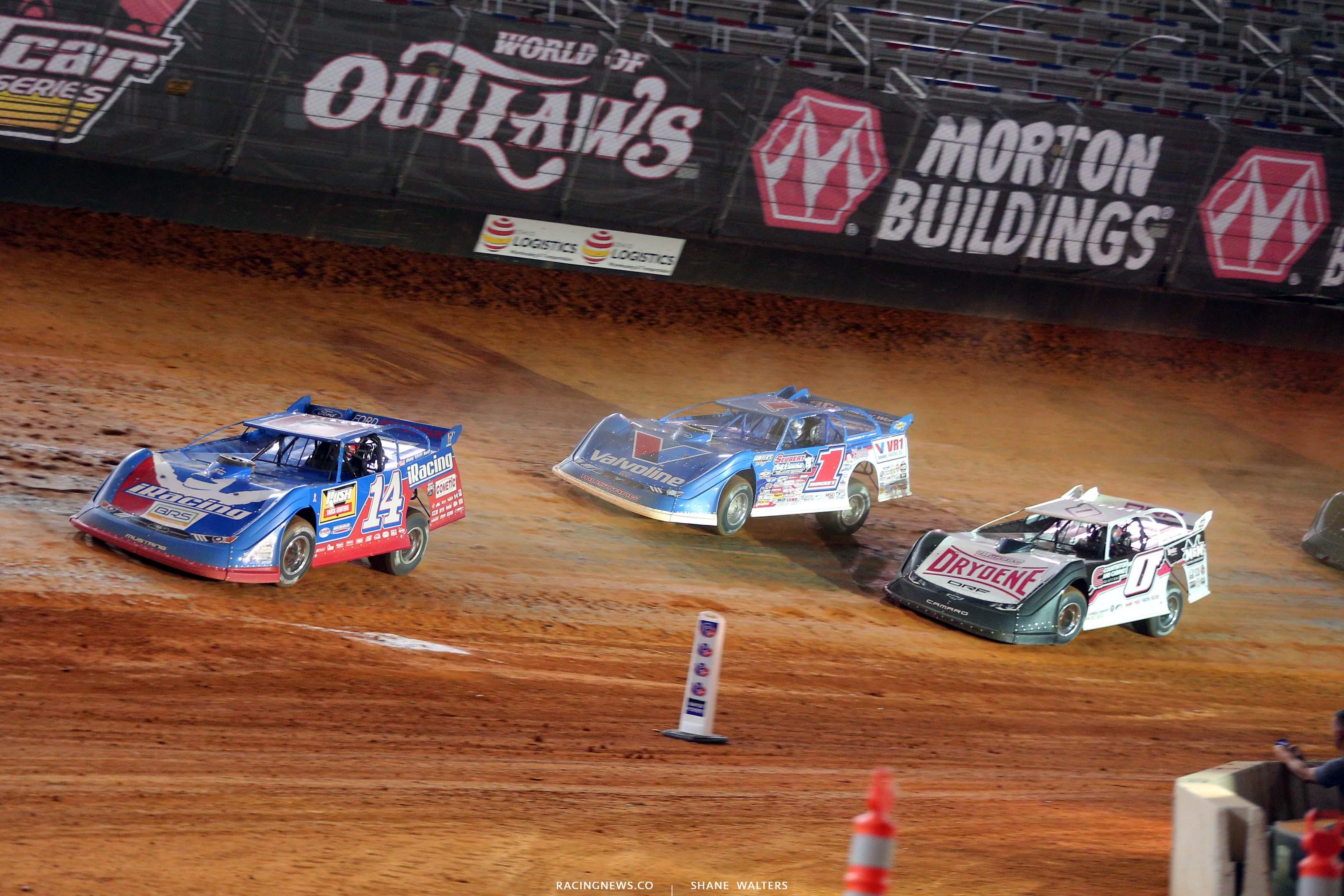 Josh Richards, Brandon Sheppard and Rick Eckert - Bristol Motor Speedway dirt track - World of Outlaws Late Model Series 3784