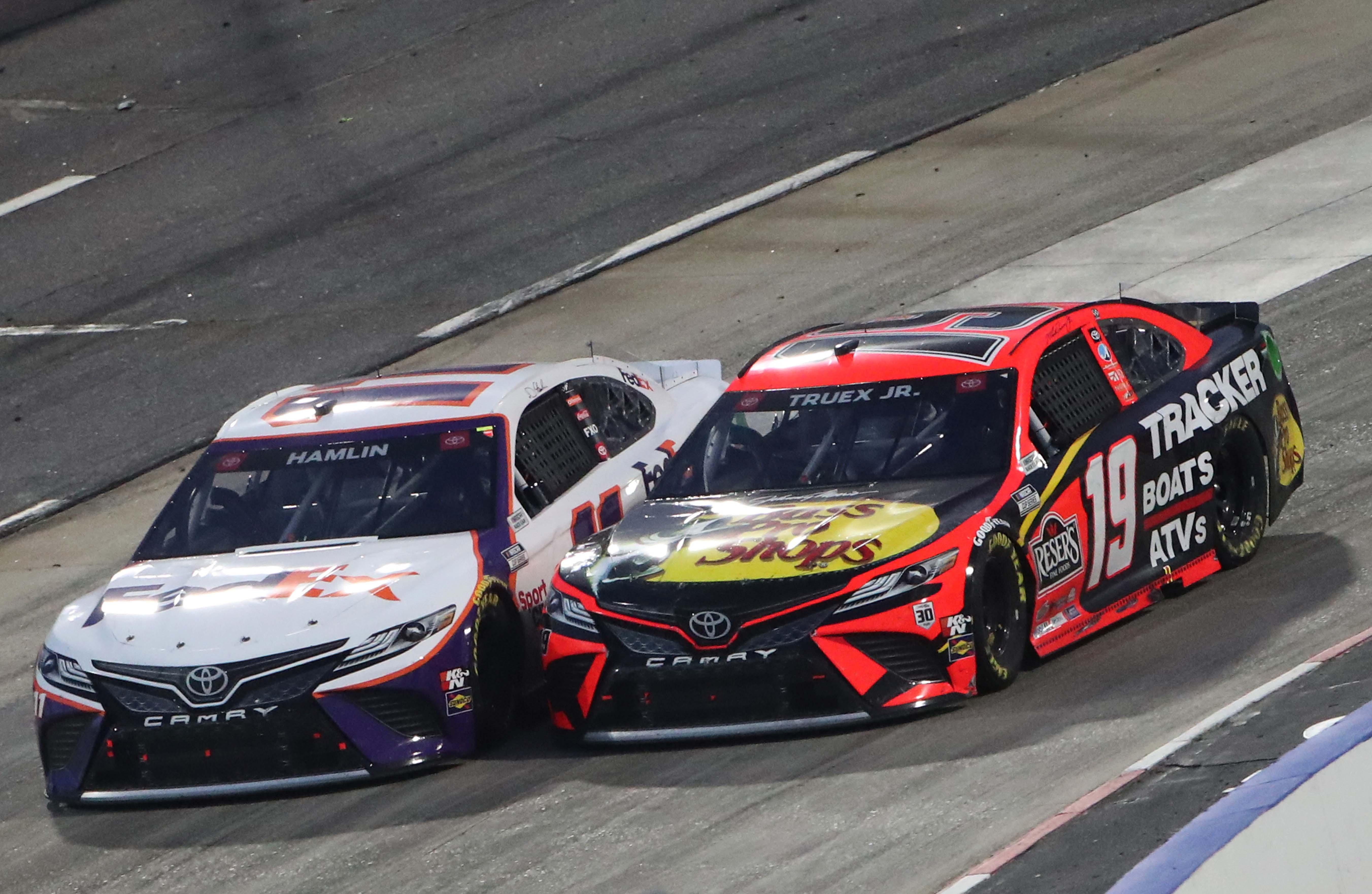 Martin Truex Jr and Denny Hamlin at Martinsville Speedway - NASCAR Cup Series