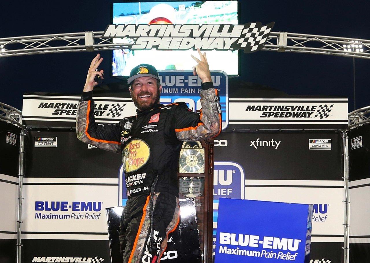 Martin Truex Jr in victory lane at Martinsville Speedway - NASCAR Cup Series