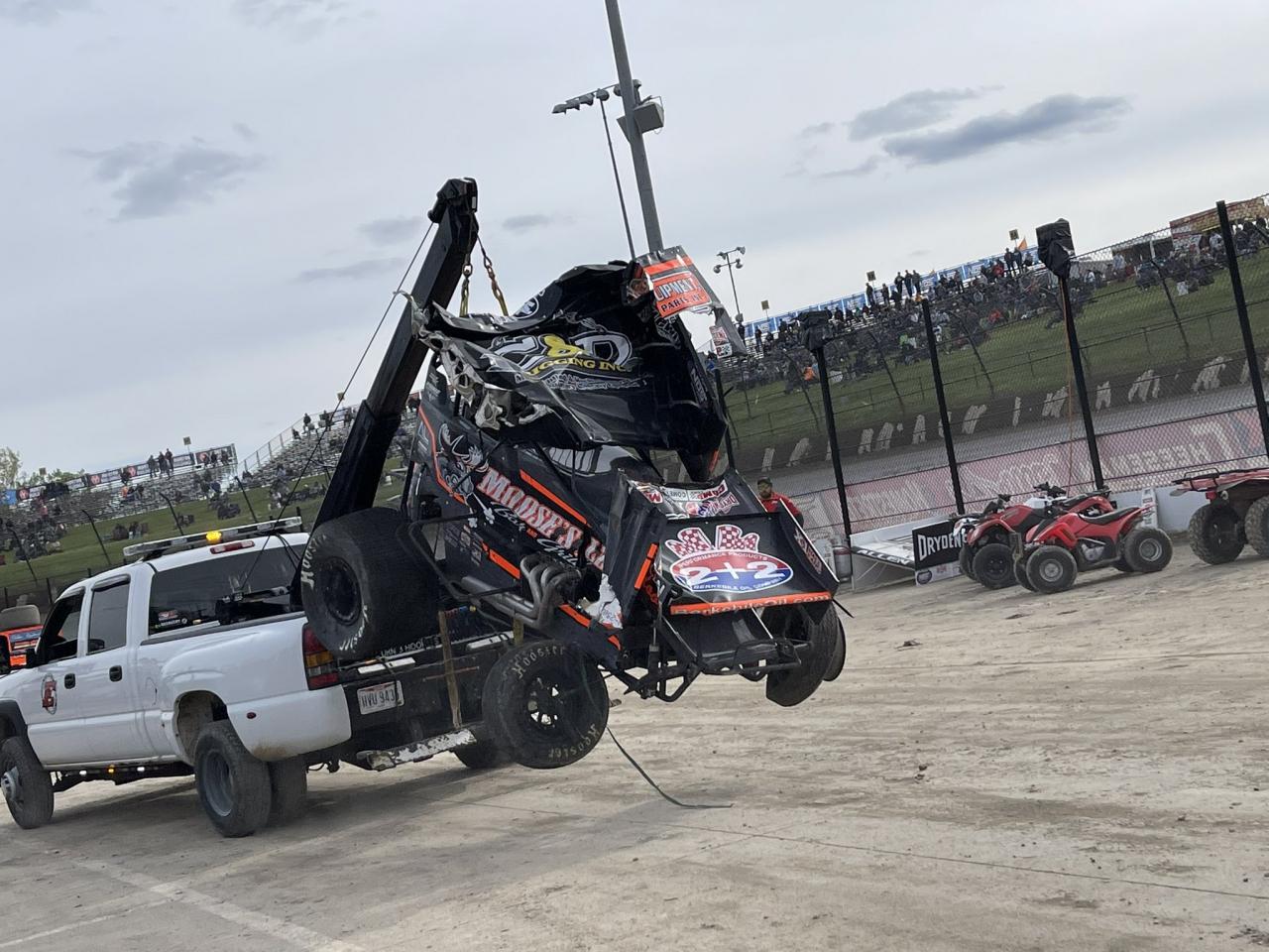 Brock Zearfoss crash - World of Outlaws Sprint Cars - Eldora Speedway