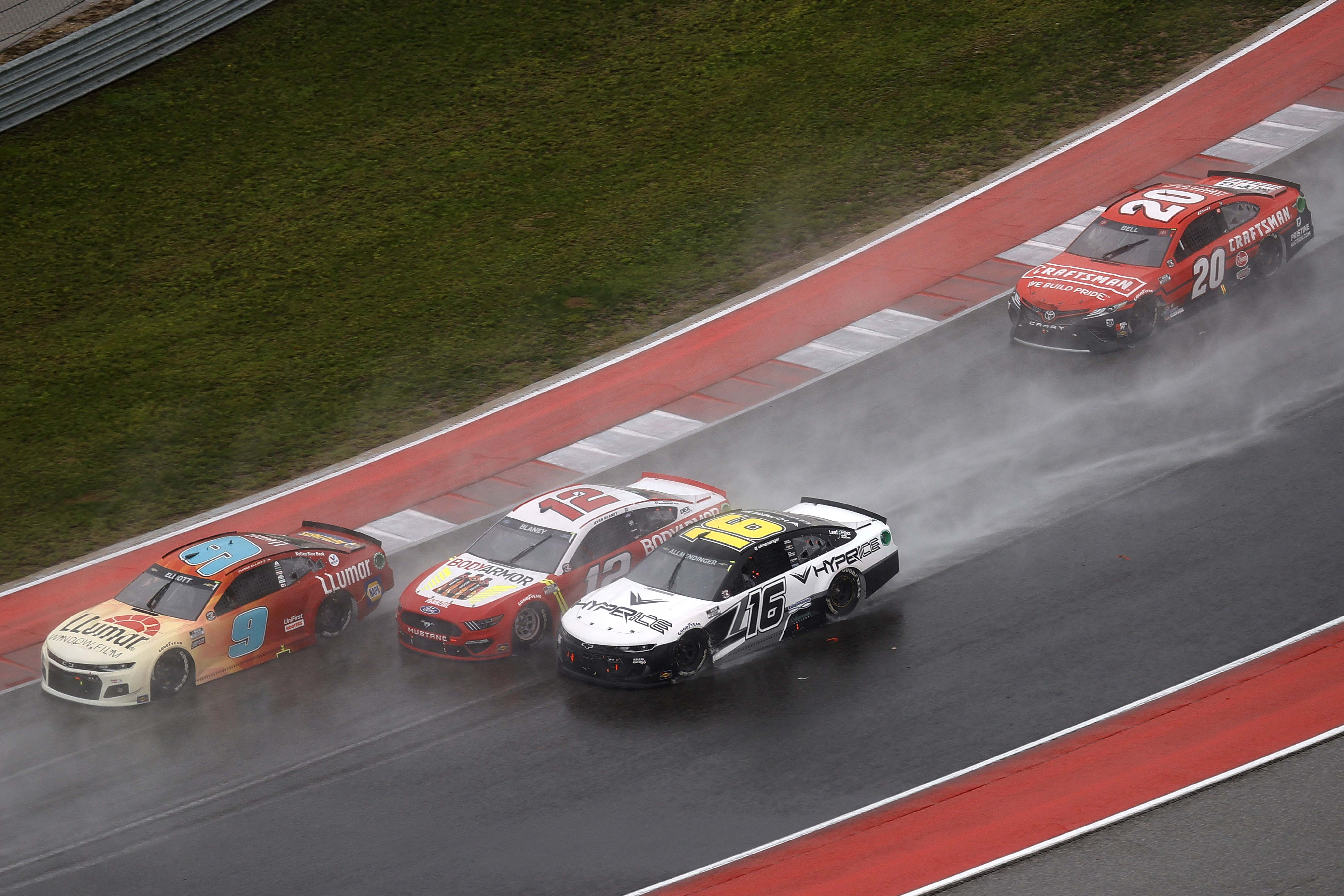 Chase Elliott, Ryan Blaney, AJ Allmendinger, Christopher Bell - Three wide - Circuit of the Americas - COTA - NASCAR Cup Series