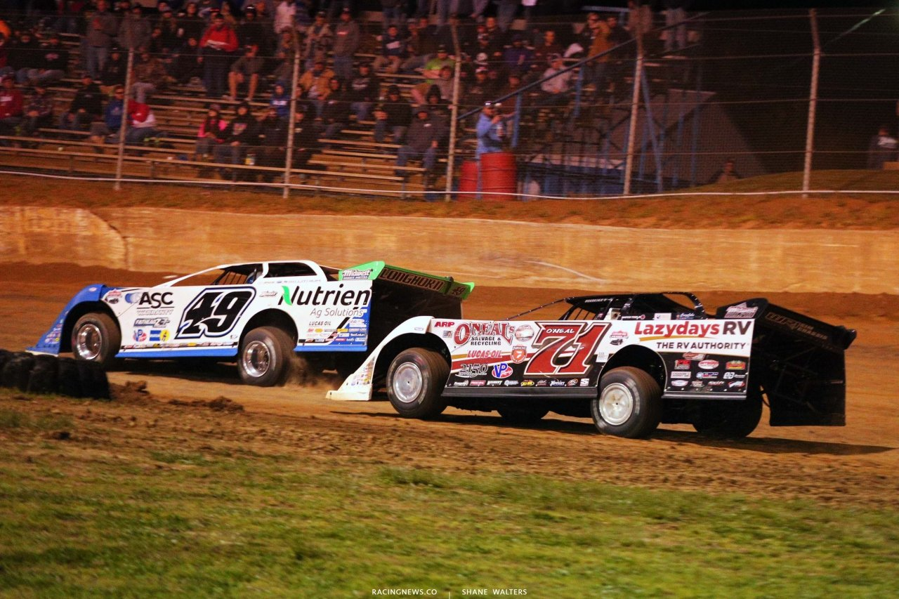 Jonathan Davenport and Hudson O'Neal at Florence Speedway - Lucas Oil Late Models - Dirt Racing 5494