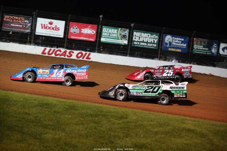 Josh Richards, Jimmy Owens, Shane Clanton at Lucas Oil Speedway - Show Me 100 - Lucas Oil Late Model Dirt Series 6229