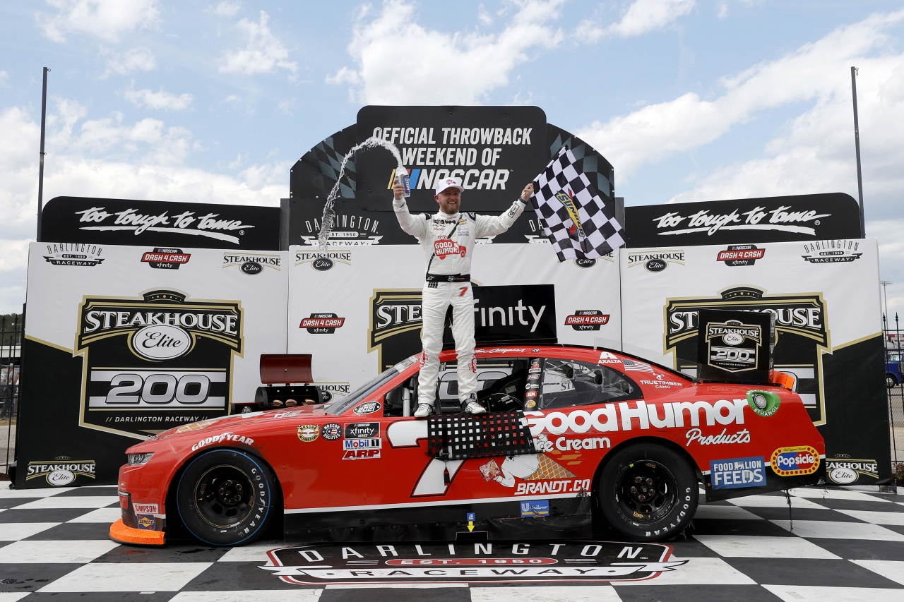 Justin Allgaier in victory lane at Darlington Raceway - NASCAR Xfinity Series