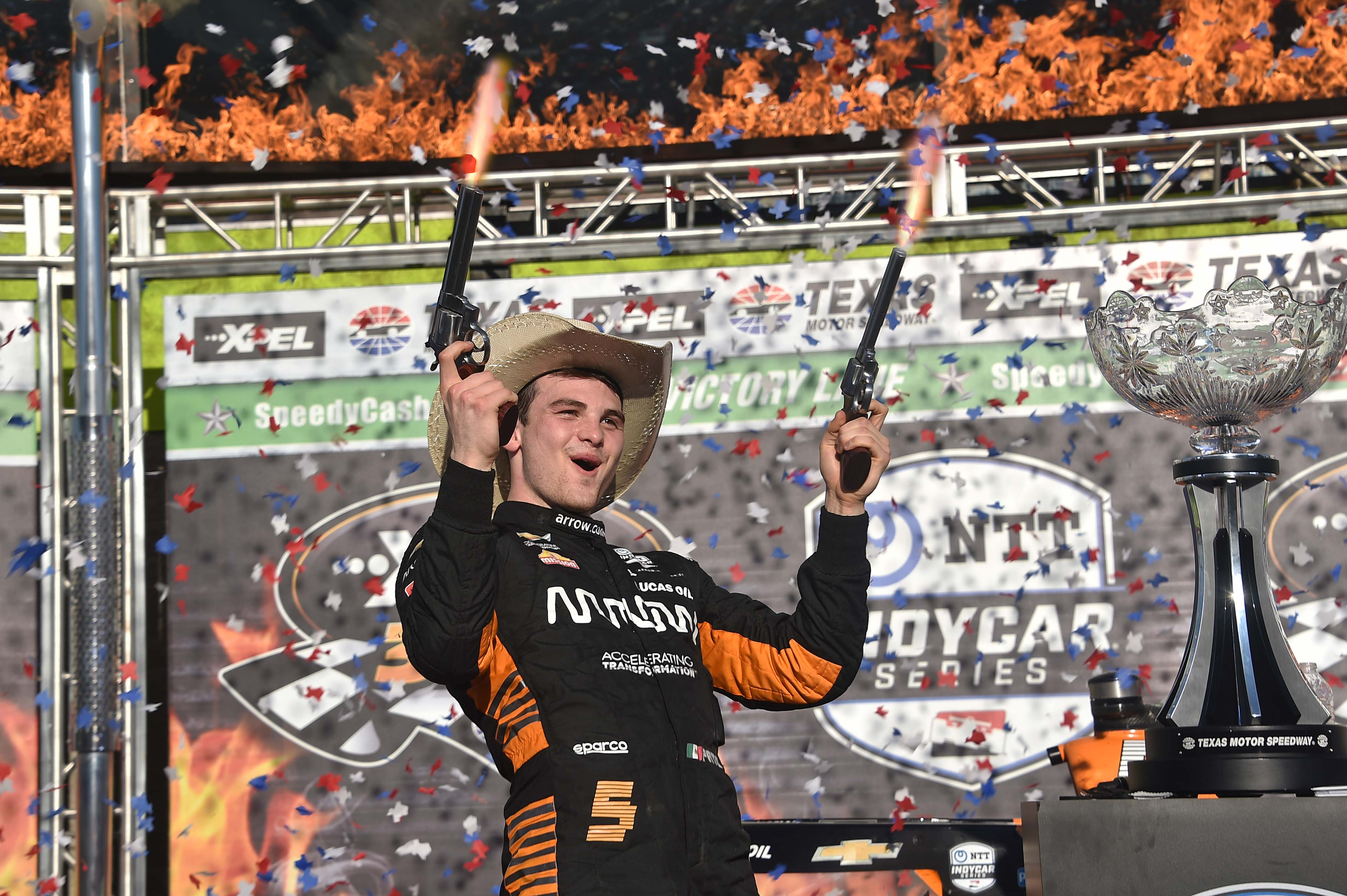 Pato O'Ward in victory lane at Texas Motor Speedway - Indycar