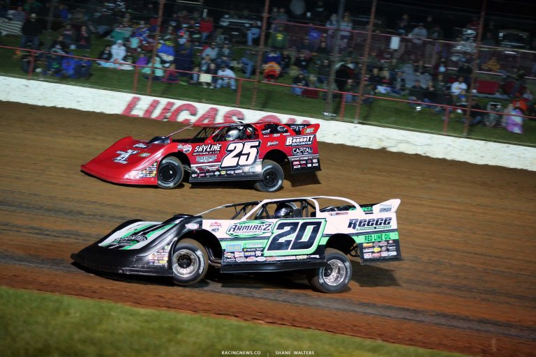 Shane Clanton, Jimmy Owens - Lucas Oil Speedway - Dirt Track Racing - Show Me 100 6239