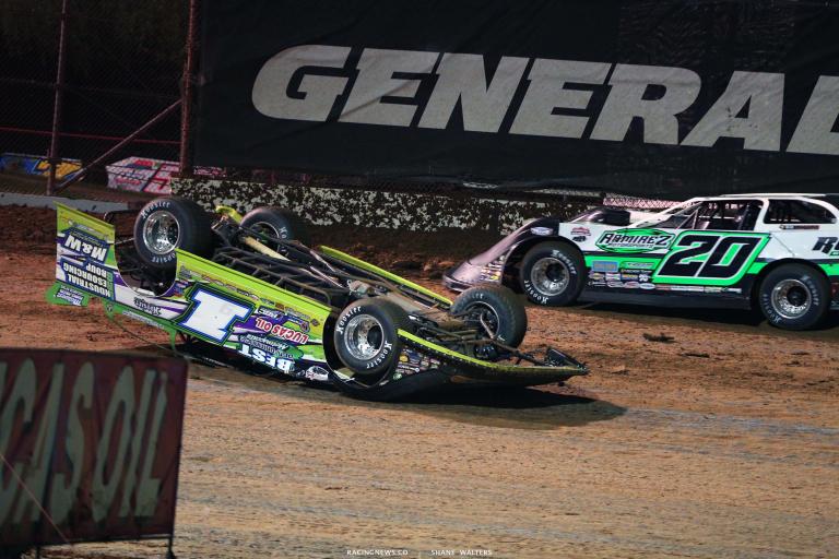 Tyler Erb flips at Lucas Oil Speedway - Dirt Late Model Crash 6330