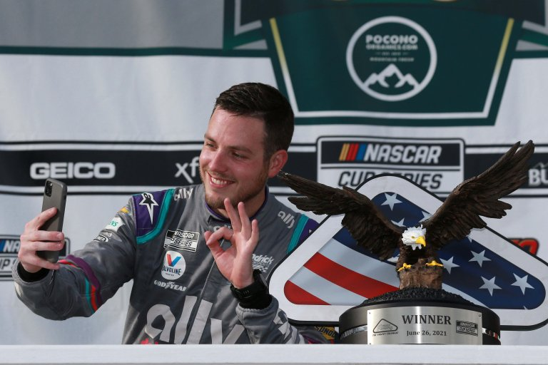 Alex Bowman selfie in victory lane - Pocono Raceway - NASCAR Cup Series