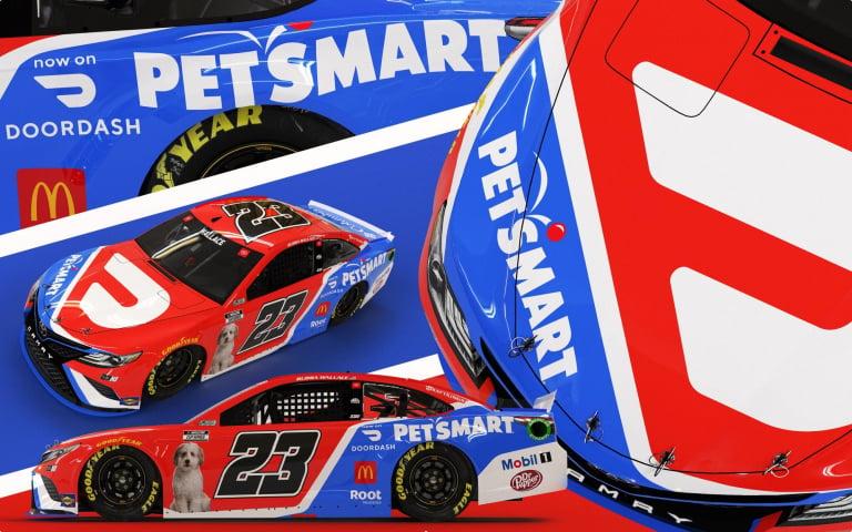 Bubba Wallace - DoorDash - PetSmart - Asher - NASCAR paint scheme