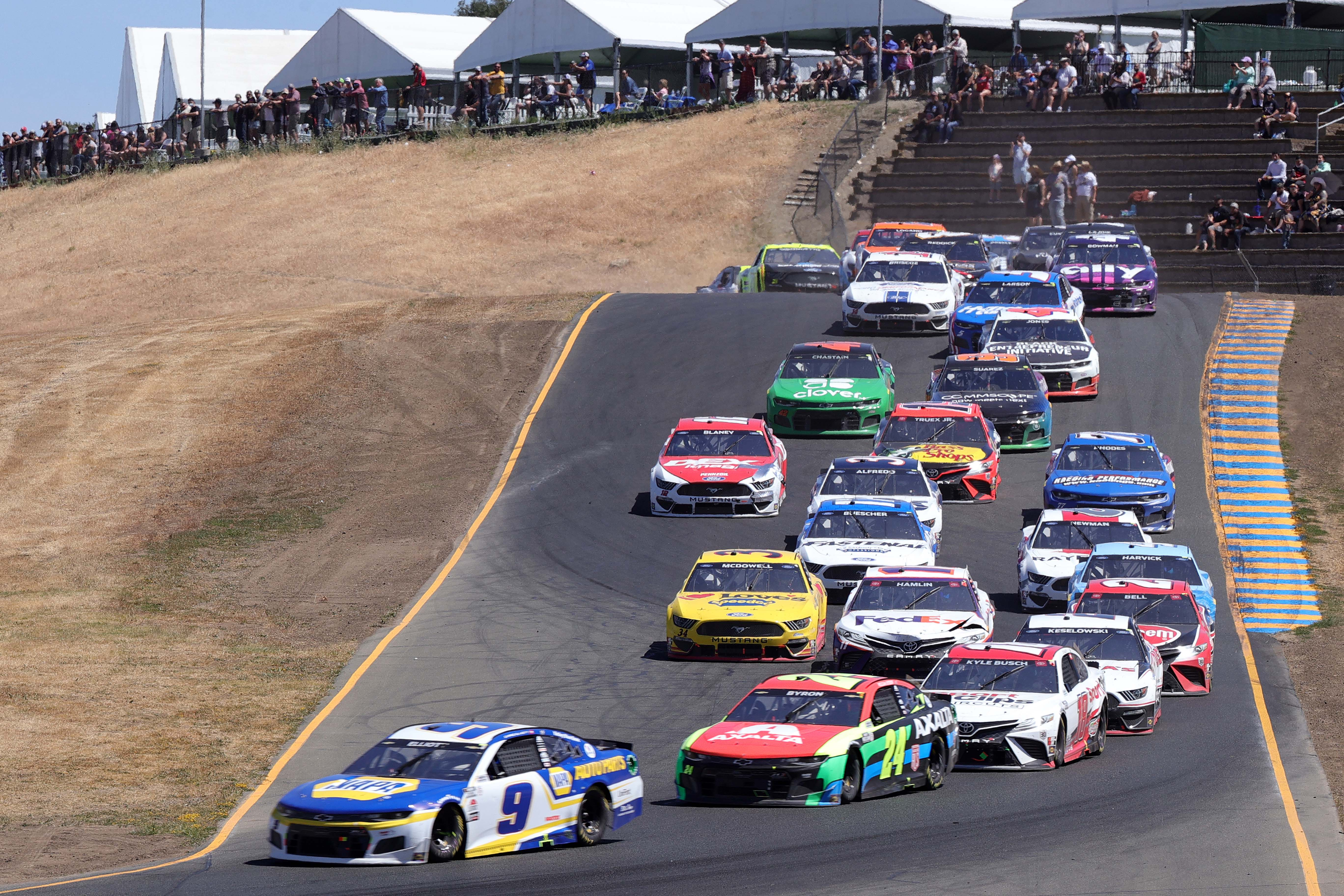 Chase Elliott, William Byron, Christoper Bell at Sonoma Raceway - NASCAR Cup Series