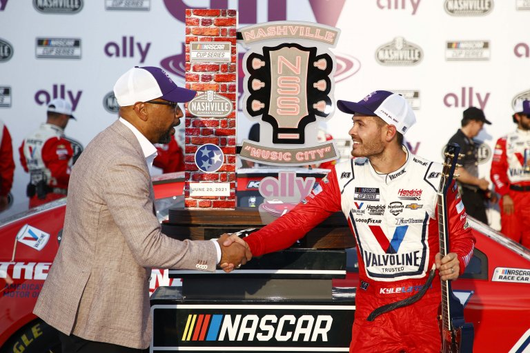 Erik Moses and Kyle Larson - Nashville Superspeedway victory lane - NASCAR Cup Series