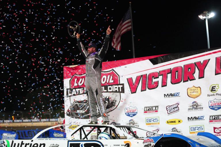 Jonathan Davenport in victory lane at Magnolia Motor Speedway - Lucas Dirt 6927