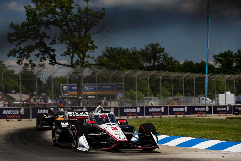 Josef Newgarden leads Pato O'Ward - Detroit Grand Prix - Indycar Series - Belle Isle Park