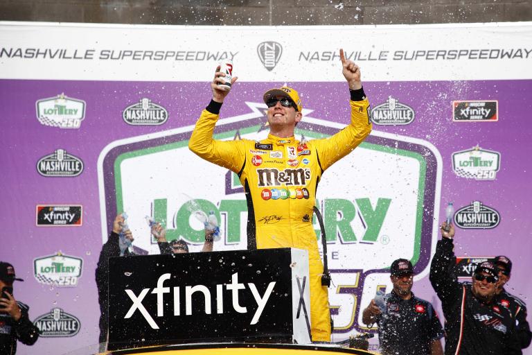 Kyle Busch in victory lane - Nashville Superspeedway - NASCAR Xfinity Series