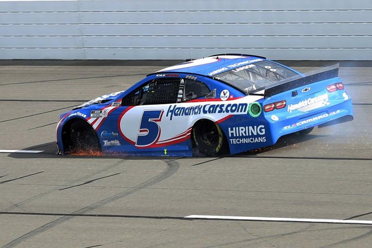 Kyle Larson blows a tire - Pocono Raceway - NASCAR Cup Series