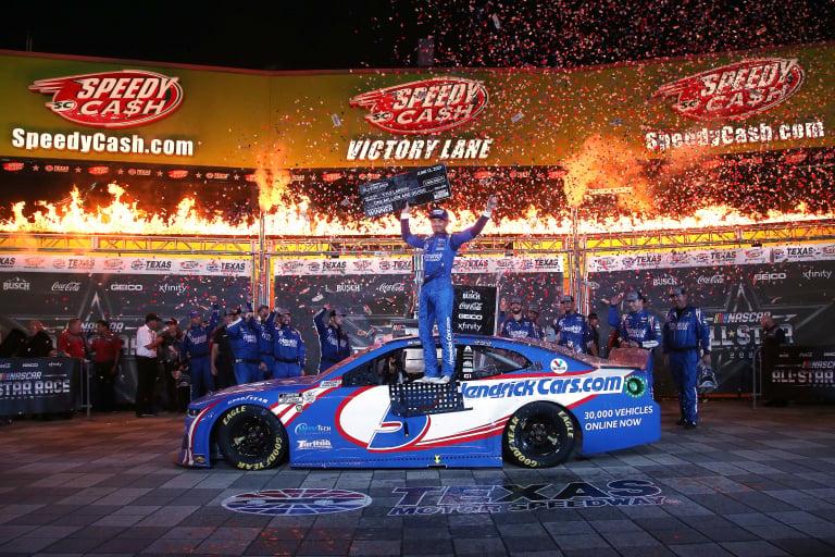 Kyle Larson in victory lane - NASCAR All-Star Race - Texas Motor Speedway