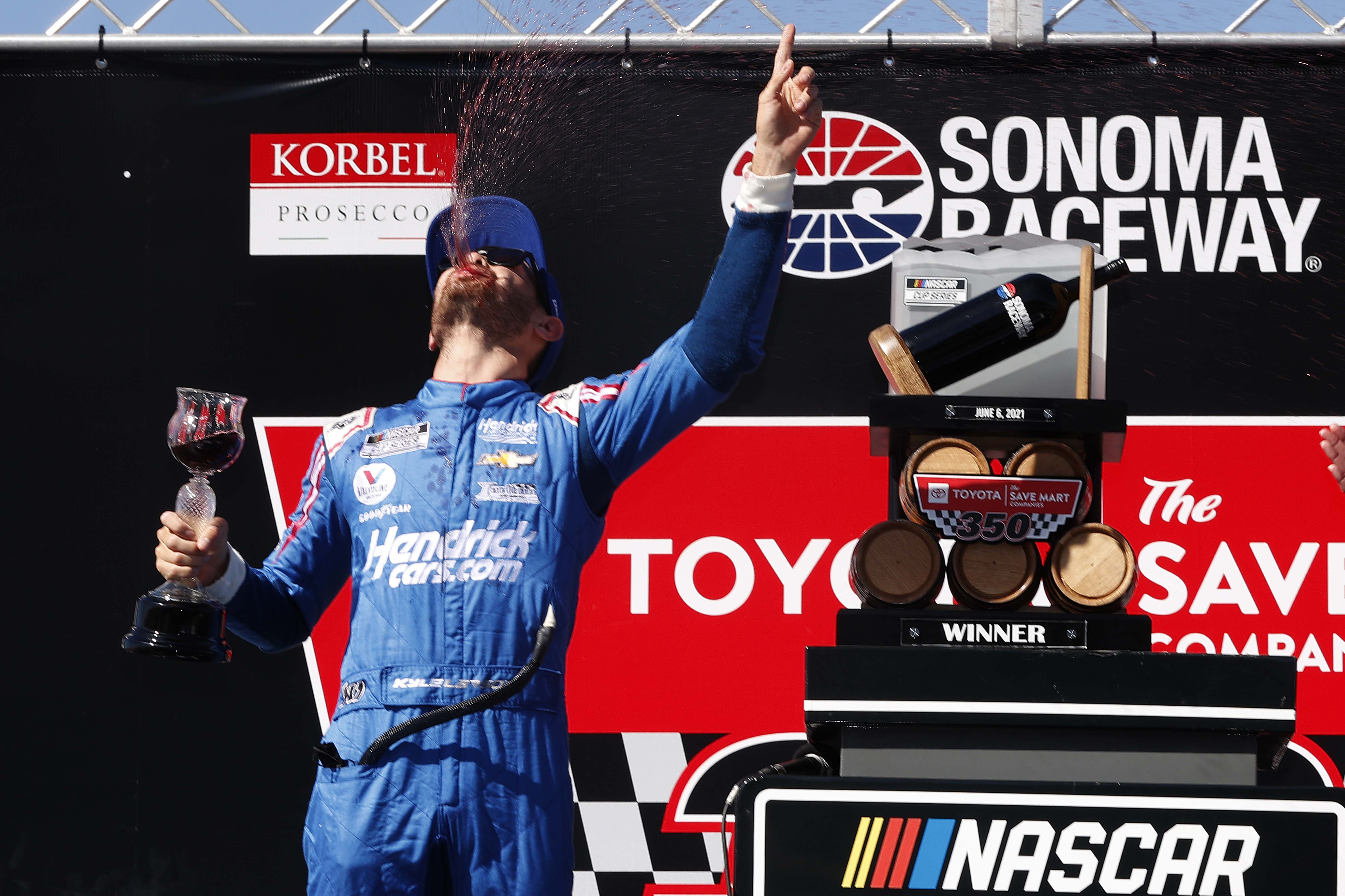 Kyle Larson spits wine in victory lane at Sonoma Raceway - NASCAR Cup Series
