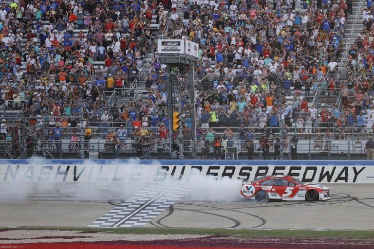 Kyle Larson wins - Burnout - Nashville Superspeedway - NASCAR Cup Series