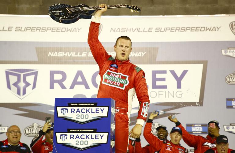 Ryan Preece in victory lane at Nashville Superspeedway - NASCAR Truck Series