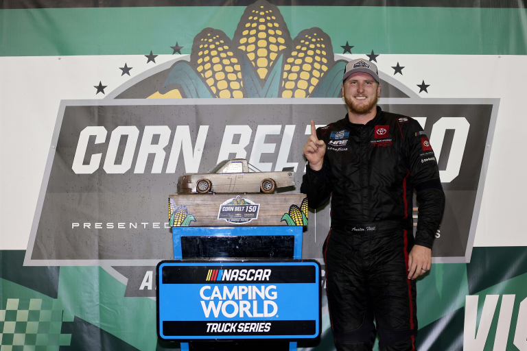 Austin Hill in victory lane - Knoxville Raceway - NASCAR Truck Series
