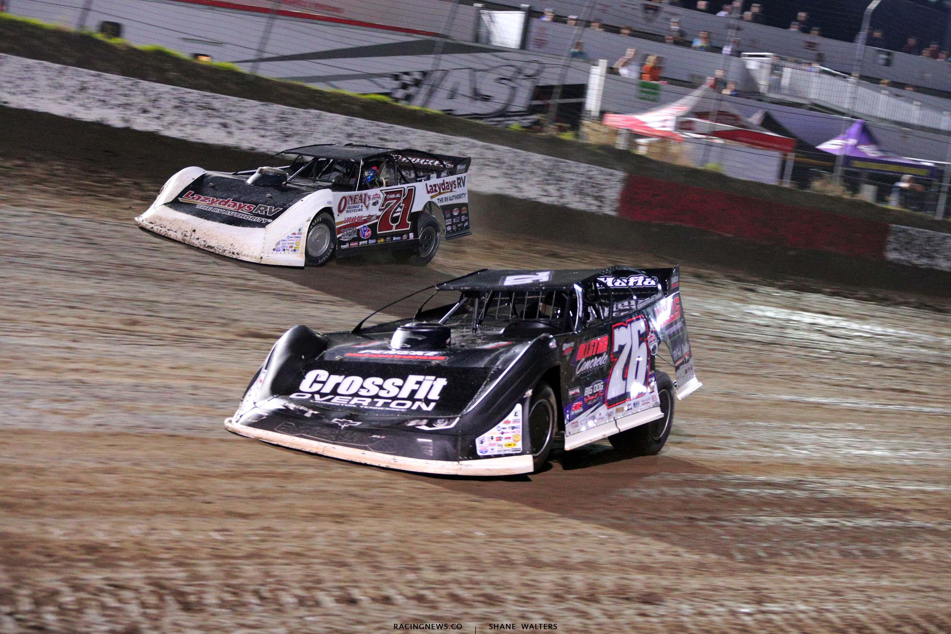 Brandon Overton and Hudson O'Neal - I-80 Speedway - Lucas Oil Late Model Dirt Series 7613