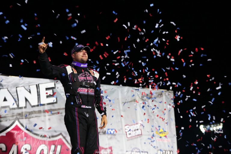 Brandon Overton in victory lane at I-80 Speedway - Lucas Oil Late Model Dirt Series 7700