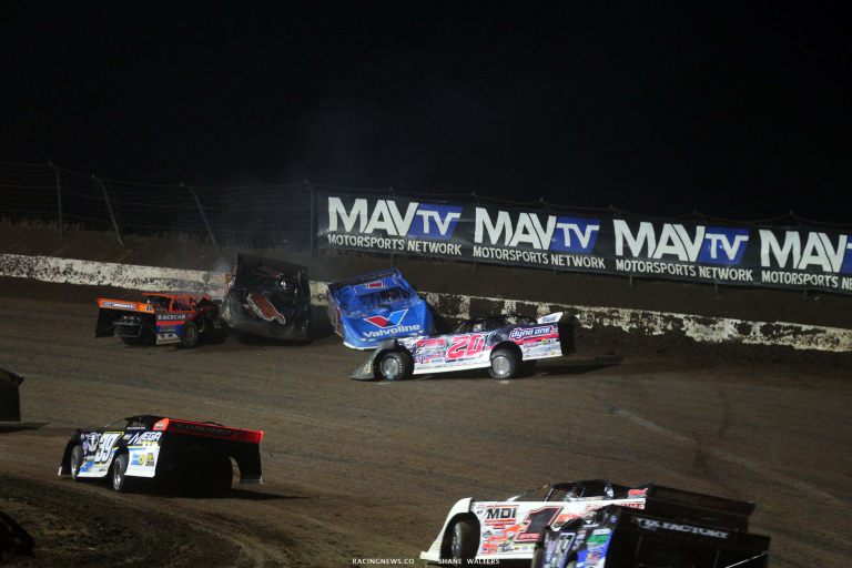 Dirt Late Model Crash at I-80 Speedway - Kyle Bronson, Jake Neal, Brandon Sheppard 7781