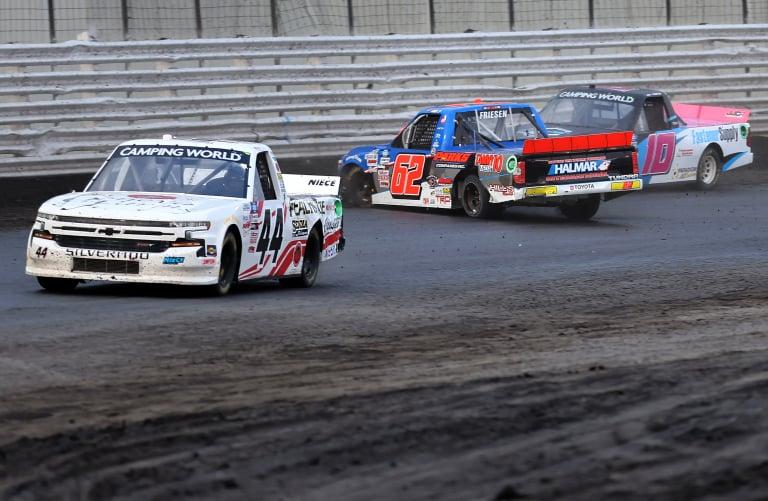 Jessica Friesen spins - Knoxville Raceway Dirt Track - NASCAR Truck Series