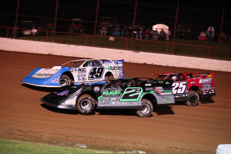 Jonathan Davenport, Stormy Scott, Shane Clanton - Lucas Oil Speedway - Lucas Oil Late Model Dirt Series 7413