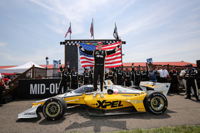 Josef Newgarden in victory lane with American Flag - Mid-Ohio - Indycar Series
