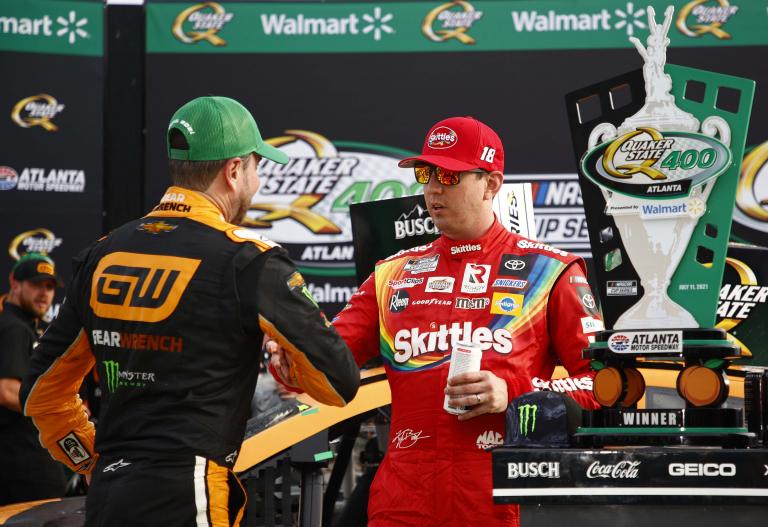Kurt Busch and Kyle Busch in victory lane - Atlanta Motor Speedway - NASCAR Cup Series