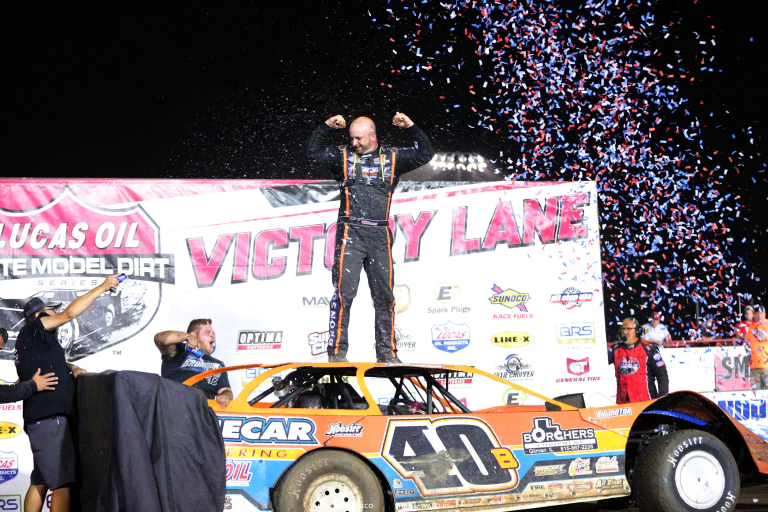 Kyle Bronson in victory lane at I-80 Speedway - Lucas Series 8383