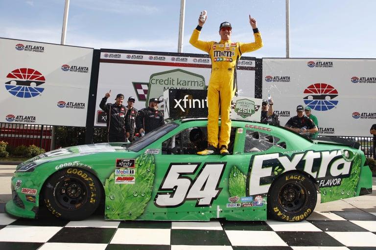 Kyle Busch stands in victory lane - Atlanta Motor Speedway - NASCAR Xfinity Series