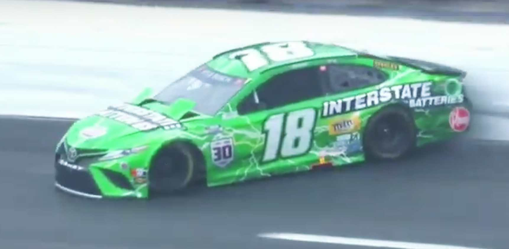 NASCAR driver Kyle Busch crashes in rain at New Hampshire Motor Speedway