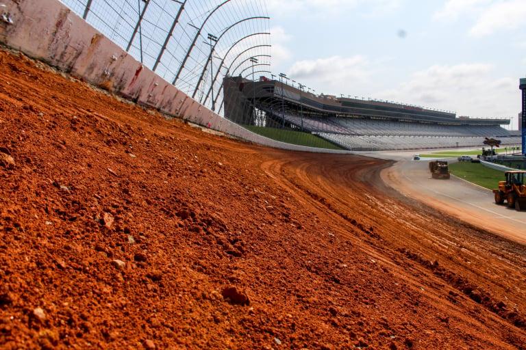 New Atlanta Motor Speedway banking construction - NASCAR track